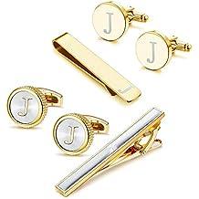 e35ab8e11426 Cufflinks Tie Bar Clip Set Initials Alphabet Letter Cufflinks for Business  Wedding with Gift Box A-Z