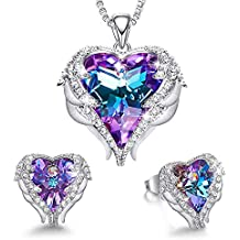 75e6482e5 Angel Wing Heart Necklaces and Earrings Embellished with Crystals from Swarovski  18K White Gold Plated Jewelry