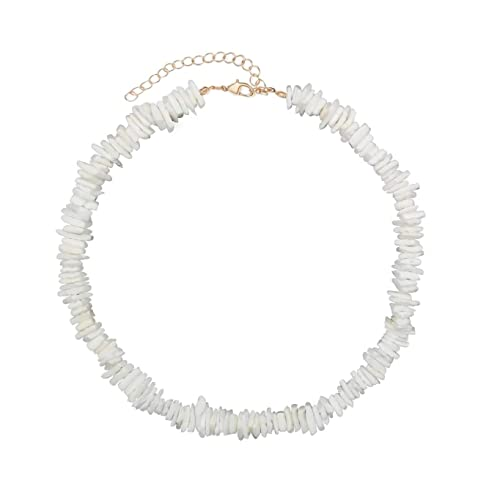 ZYIJUNY Women Golden Chain White Conch Clam Chips puka Shell Necklace  Collar Choker with Extended Chain for Girls Men's Women Boys Native Rose