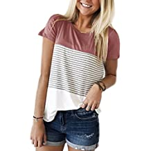 6f0067299943 Short Sleeve and Long Sleeve Round Neck Triple Color Block Stripe T-Shirt  Casual Blouse
