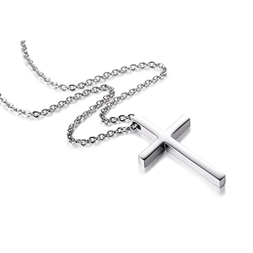 5491df91cc0 Buy Reve Simple Stainless Steel Silver Tone Cross Pendant Chain ...