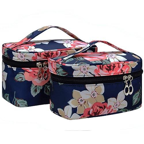 dbaae2aa42dd Buy Portable Cute Small Travel Flower Pattern Mirror Makeup Bag ...