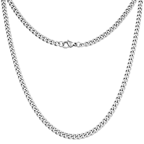 6fdd4361ef681 Silvadore 4mm Curb Mens Necklace - Silver Chain Cuban Stainless Steel  Jewelry - Neck Link Chains for Men Man Women Boys Male Military - 14