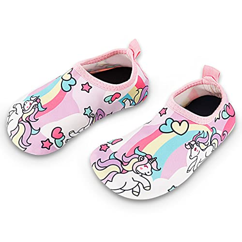 220f9b3fbd Toddler Kids Swim Water Shoes Quick Dry Non-Slip Water Skin Barefoot Sports  Shoes Aqua Socks for Boys Girls Toddler, Unicorn, 2 Little Kid