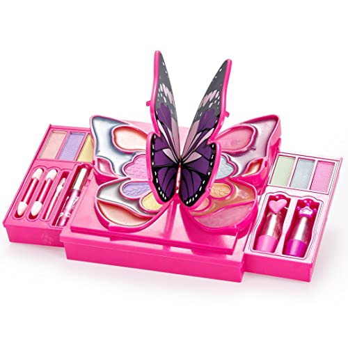 JaxoJoy Girly Girl Butterfly Makeup Kit - Girls Makeup Palette - 30 Piece  Set