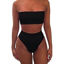4827a9c012e65c Pink Queen Women's Removable Strap Wrap Pad Cheeky High Waist Bikini Set