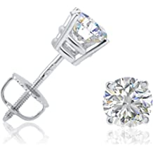 947e2da3d AGS Certified 1ct TW Round Diamond Stud Earrings in 14K Gold with Screw  Backs