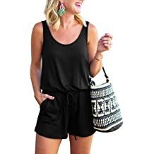 049dbfc45 REORIA Womens Summer Scoop Neck Sleeveless Tank Top Short Jumpsuit Rompers