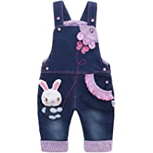 b69dad580264 Kidscool Baby  amp  Little Girls Rabbit Casual Soft Denim Overalls Jeans
