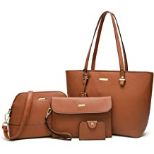 7ec4e7775 ELIMPAUL Women Fashion Handbags Tote Bag Shoulder Bag Top Handle Satchel  Purse Set 4pcs