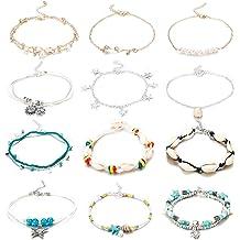 2dacef777 Finrezio 12PCS Anklets for Women Girls Blue Starfish Turtle Elephant Charm  Ankle Bracelets Multilayer Gold Silver