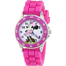 ff3cf51de1d76 Minnie Mouse Kids' Analog Watch with Silver-Tone Casing, Pink Bezel, Pink  Strap - Official Minnie Mouse Character on The Dial, Time-Teacher .